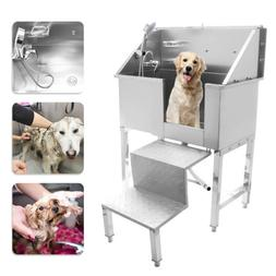 """34"""" Stainless Steel Pet Grooming Bath Tub Dog Cat W/Faucet S"""