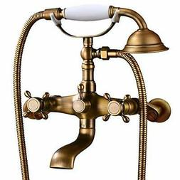 Antique brass Clawfoot Bathtub Faucet Wall Mount Hand Held S