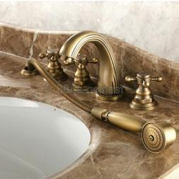 Antique Brass Widespread 5 Hole Bathtub Faucet With Handheld