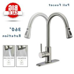 Brushed Kitchen Sink Faucets Stainless Steel Single Lever Ho