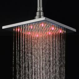 Brushed Nickel 8 Inch LED Rainfall Shower Head  Square  Top