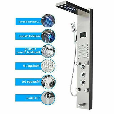 led shower panel tower system rainfall waterfall