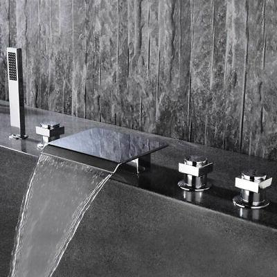 waterfall spout sink faucet with handshower chrome
