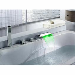 LED Lighted 5 Hole Roman Tub Waterfall Filler Faucet with Ha
