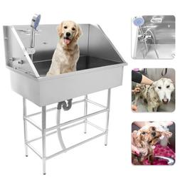 """Professional Stainless Steel 34"""" Pet Grooming Bath Tub Dog C"""