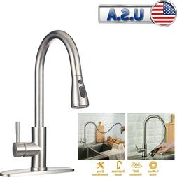 Stainless Kitchen Sink Faucet Pull Out Sprayer Single Handle