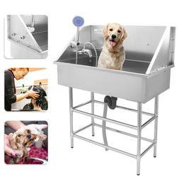 """Stainless Steel 34"""" Pet Grooming Bath Tub for Dog Cat with F"""