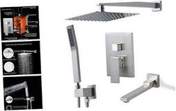 Tub Shower Faucets Set Complete with Pre-embedded Valve, 10-