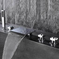 Waterfall Spout Sink Faucet with Handshower Chrome Bath Taps